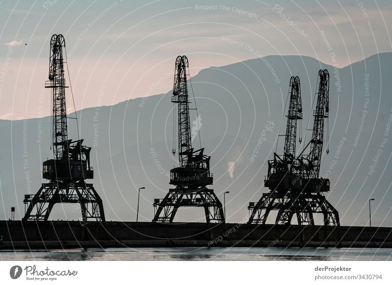Cranes in the port of Rijeka Historic Harbour relaxation Vacation & Travel Neutral Background coastline Coast Esthetic Adriatic Sea Deep depth of field