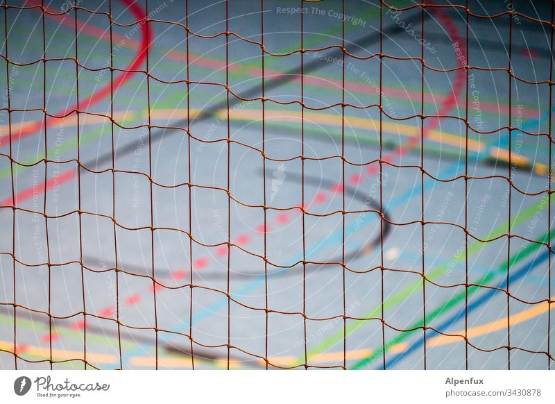 colourful network | rope team Net Rope lines variegated Multicoloured Green Orange Blue Red Abstract Deserted Colour Colour photo background