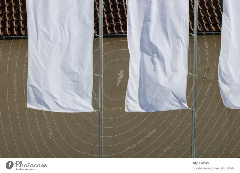 raise white flags White Exterior shot Deserted Day Sunlight Peace Capitulate Beautiful weather Flagpole Blow Judder