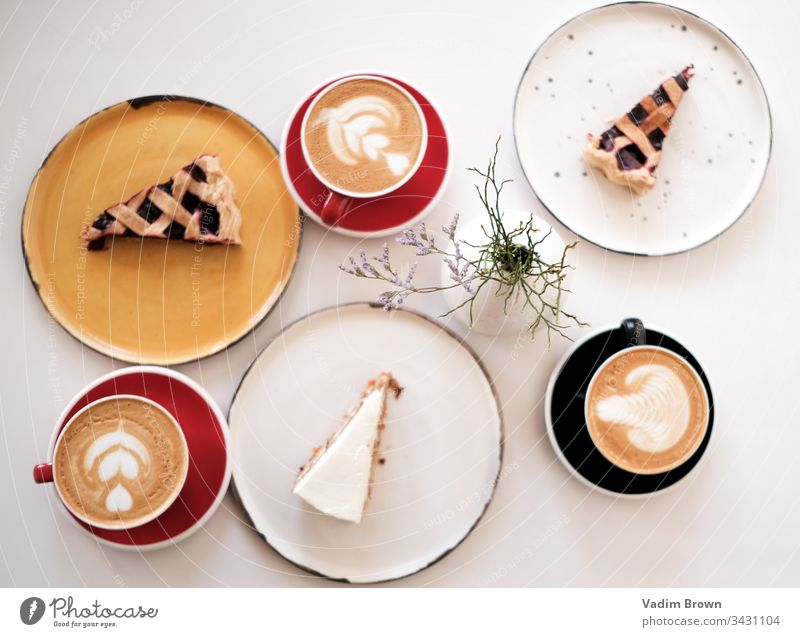 Dessert with coffee dessert white cafe coffee cup pie coffee break coffeehouse