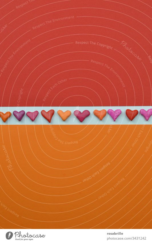 Hearts as a ribbon on white between orange and red | colour combination cuddle Red Orange Love Abstract Free space Copy Space Band Stripe White pink purple