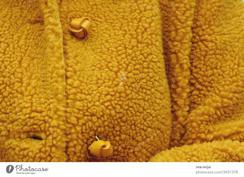 wrapped warm Jacket Buttons Yellow Modern Fashion fashionable Winter clothing Style Autumn clothing warmly dressed winter Autumnal Autumn colour Ochre knob