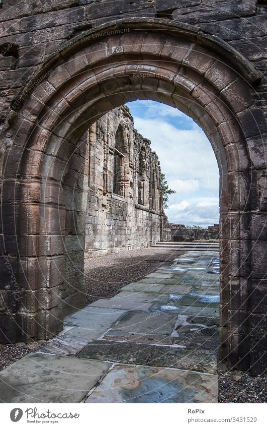 Historic church in the Scottish Highlands. Door Wall (barrier) abbey scotland Wall (building) Fortress Natural stone wall door Building