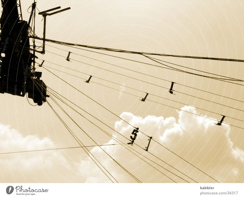 Sky Clouds Rope Engines Sepia Wakeboarding Bright background
