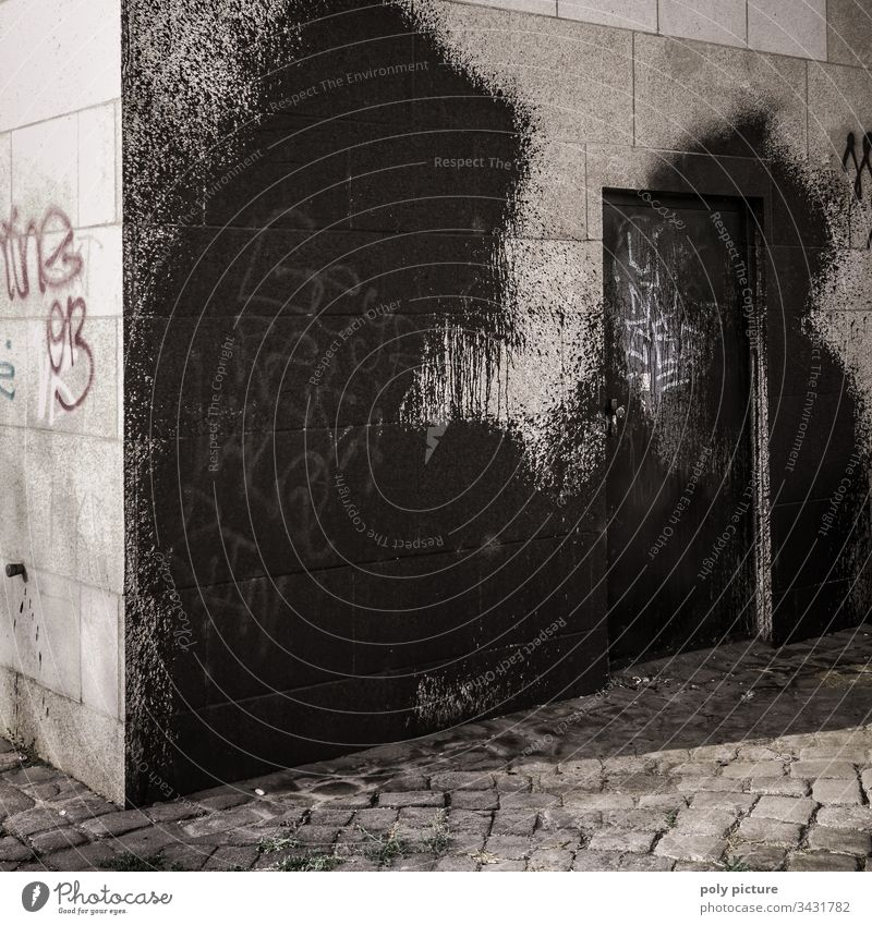 Huge black graffiti on a bridge pier in Dresden Graffiti Bridge Vandalism Exterior shot Deserted Town Facade Black Street art Daub Art Wall (barrier) Subculture