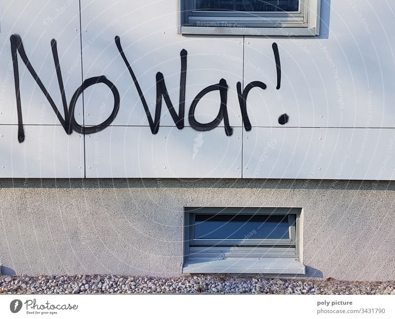 """No War! Graffiti NO WAR !! was Peace Force Gray Wall (building) Vandalism vandalism Typography typo typographically Handwriting Handwritten sprayer spraying"