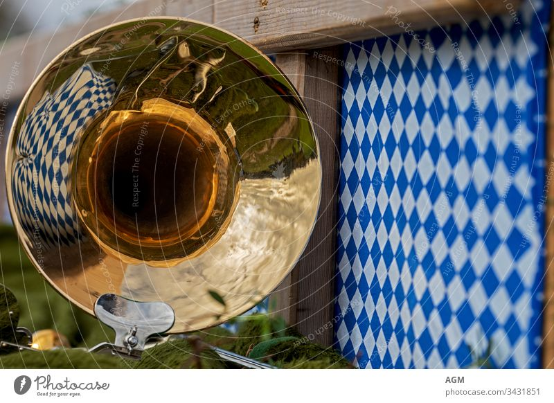 Bavarian cosiness with brass music and rhombic pattern Band Cor anglais manner Austria background bass bavarian beer garden beergarden body brass band