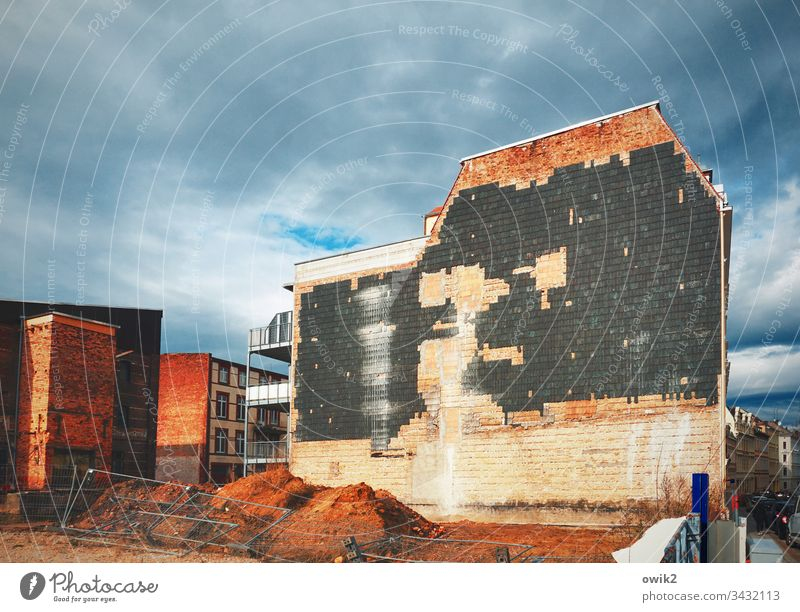 Walled up House (Residential Structure) Wall (building) Facade Old Sky cloudy Demolition house brick bricked up Exterior shot Colour photo Deserted Day Window