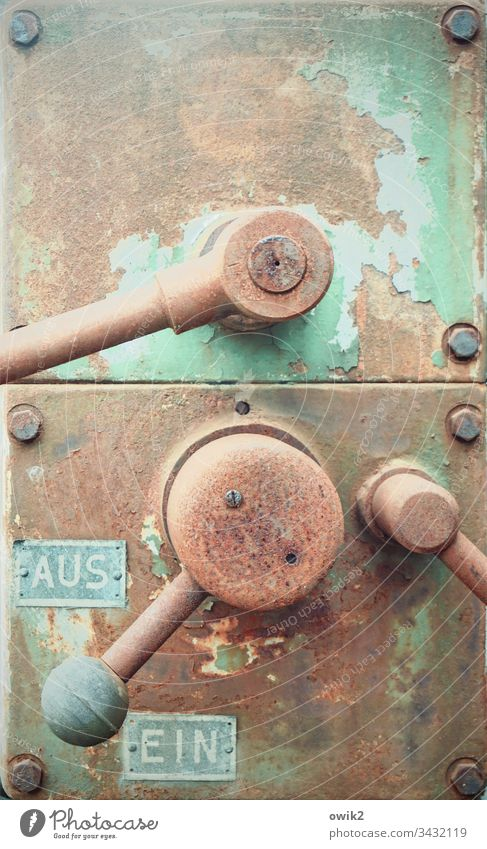Leverage Law Switch Old Rustic Simple Decide Metal Technology Colour photo Deserted Detail Industry Energy industry Green Subdued colour Electrical equipment
