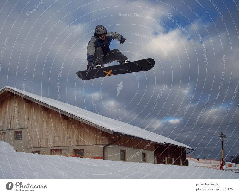 House (Residential Structure) Winter Snow Style Sports Jump Touch Crucifix Snowboard Freestyle Clouds in the sky Snowboarding Snowboarder Gable end X