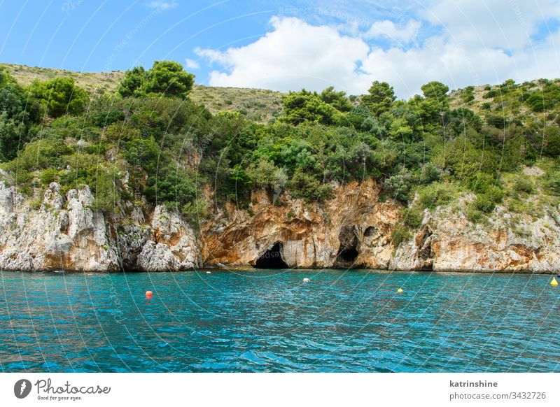 Caves in the Infreschi bay from the sea, Camerota Protected sea area porto baia cave grotta Salerno Masseta Italy cilento wild beautiful blue campania coast