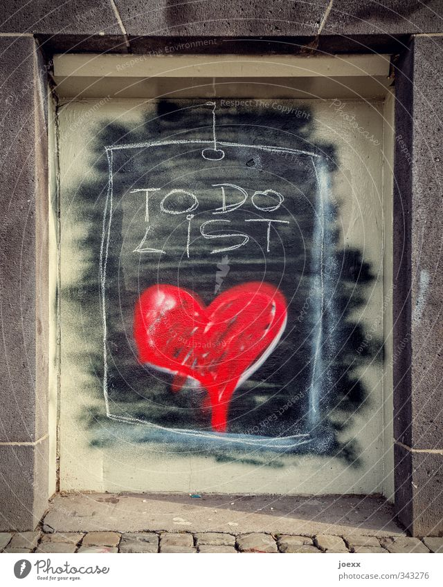 project Wall (barrier) Wall (building) Facade Stone Sign Graffiti Heart Sharp-edged Kitsch Nerdy Warmth Brown Black White Love Romance Desire Patient Hope