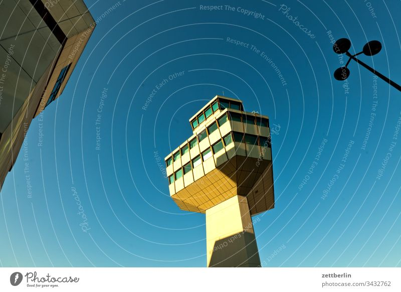 Tegel Tower on the outside flight Airport Air traffic controller flupplatz Worm's-eye view Sky Deserted Copy Space tower TXL Airfield Architecture Berlin