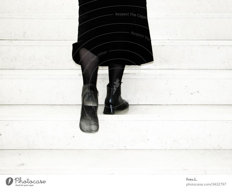 In her bootees frau.L. climbed the stairs with verve and left a fine dust trail. Woman Staircase (Hallway) Stairs Skirt Legs Boots Sole Dusty