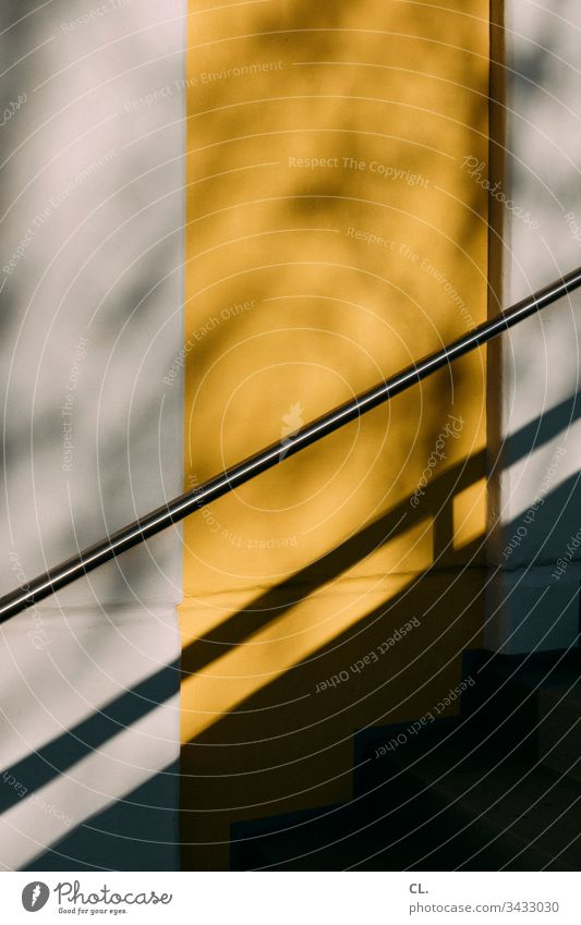 handrail of a staircase Wall (building) Stairs Abstract abstraction Yellow Metal Concrete Colour photo Architecture Exterior shot Gray Deserted