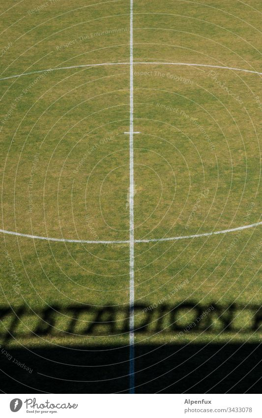 Kick-off postponed..... Stadium Lawn Sports Foot ball Green Football pitch Line Grass Deserted Ball sports Exterior shot Leisure and hobbies Colour photo