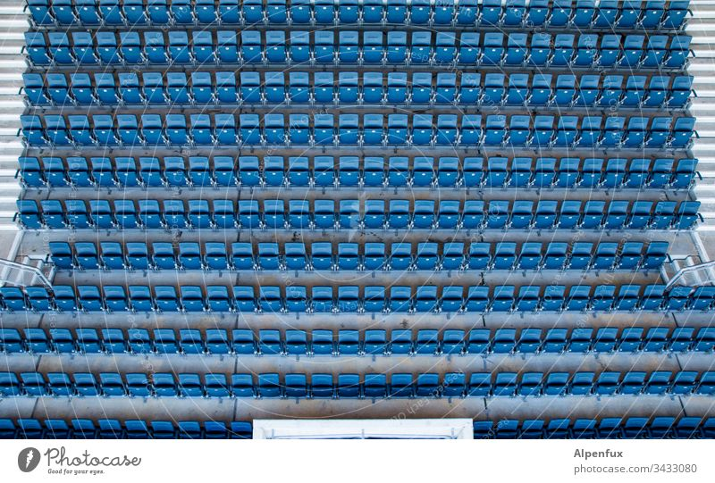 free choice of seats Stands Colour photo Stadium Exterior shot Sporting Complex Sporting event Audience Ball sports Football pitch Day Leisure and hobbies