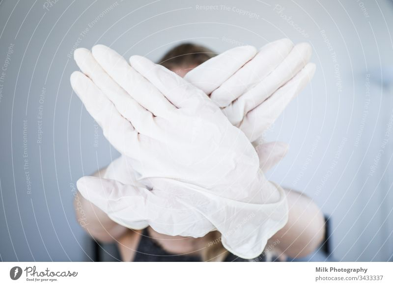 Crossed hands wearing gloves Work and employment Chemistry Scientist Hospital Pharmacy Biology Sample Medication Examinations and Tests Laboratory Research