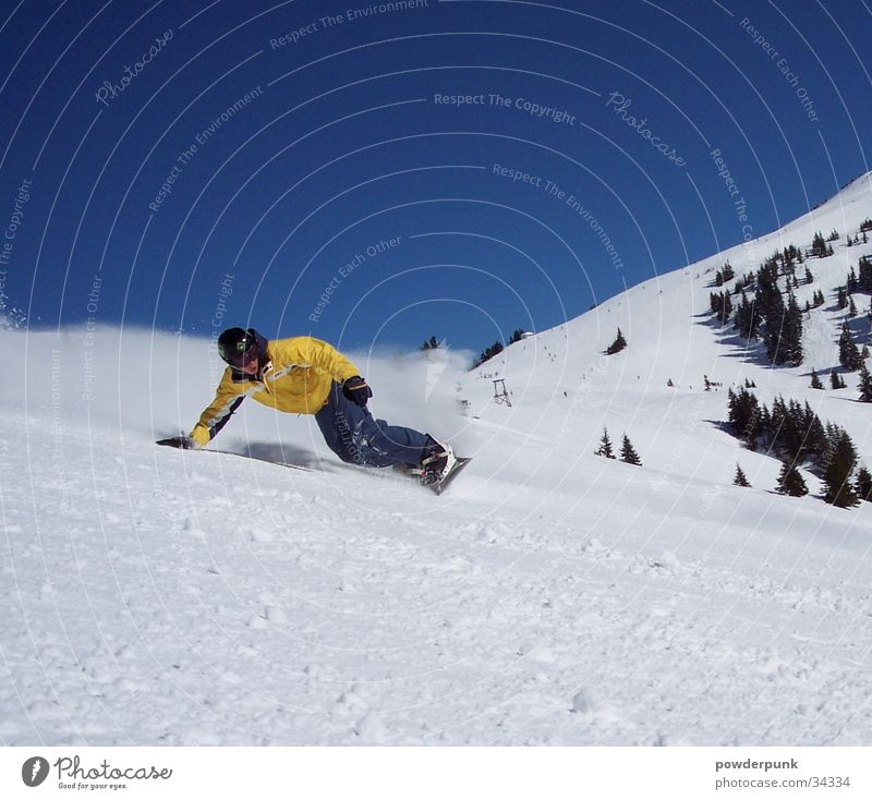 Winter Yellow Snow Sports Action Speed Touch Posture Curve Downward Blue sky Swing Snowboard Winter sports Heat Freestyle