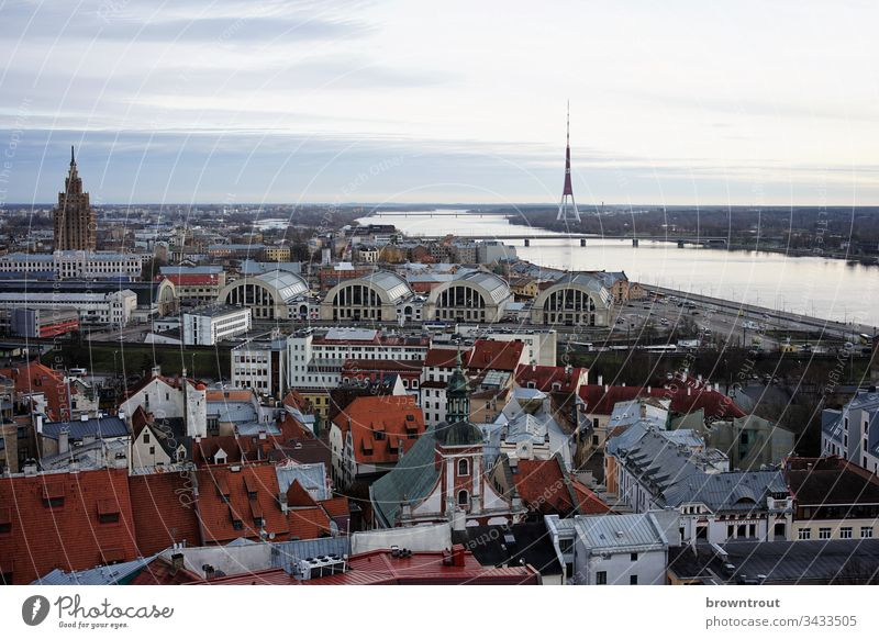 View of Riga with market halls, Latvia Old town River Covered market Tower Vantage point roofs