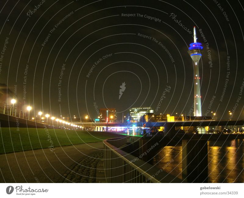 Düsseldorf Skyline Night Light Long exposure Architecture Duesseldorf Television tower