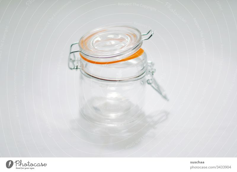 Empty preserving jar Preserving jar Glass safekeeping keep fresh Supply Jam Transparent hoard Neutral background white background Copy Space rubber ring