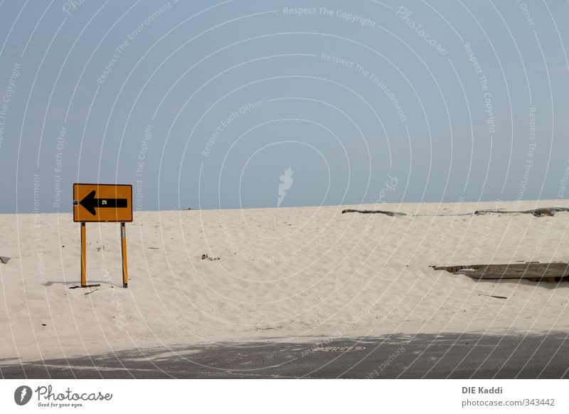 Away from the beach Summer Summer vacation Beach Horizon Stone Sand Wood Metal Arrow Natural Blue Yellow Signs and labeling Roadside calvery Colour photo