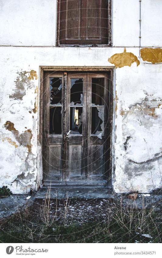 Running open doors outline Tumbledown Broken Derelict Ruin Glass shattered shards Pane Window pane Broken glass glass break smashed window corrupted Brittle