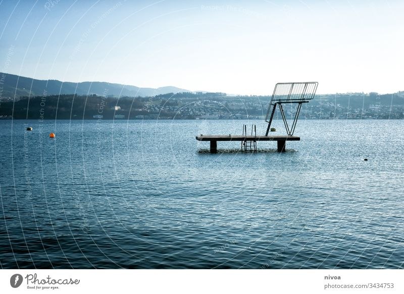 diving platform Lake zurich Zurich Water Sky Town Switzerland Exterior shot Colour photo Landscape Architecture Reflection Contrast Footbridge Deserted Nature
