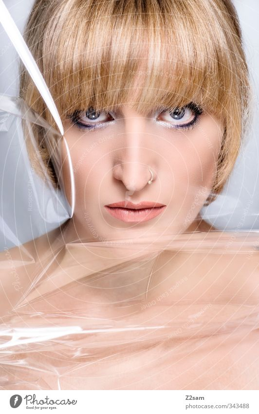 Beauty V Elegant Style Beautiful Make-up Feminine Young woman Youth (Young adults) 18 - 30 years Adults Piercing Blonde Short-haired Bangs Esthetic Naked Clean