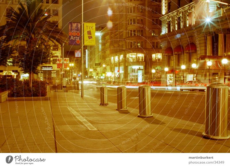 San Francisco at night Night California Transport Sidewalk Tracer path Lamp North America Union Square Street Light Car