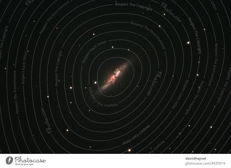 The cigar galaxy Messier 82 in the constellation Great Bear photographed from Mannheim. NGC 3034 Cigar M82 Galaxy Constellation Ursa Major deep sky Night Sky