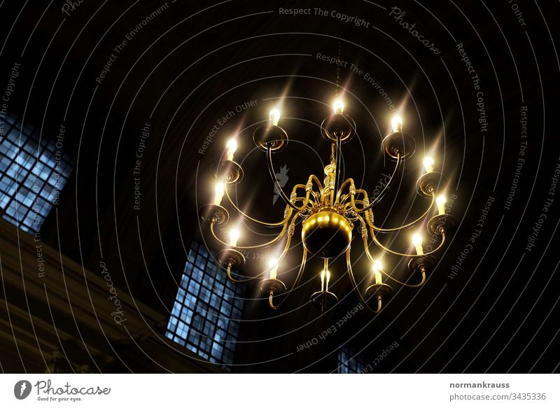 Ceiling light in a church Chandelier Hanging lamp interior lighting ceiling light Lamp Electric Lighting vintage Classic luminescent from below Church rays