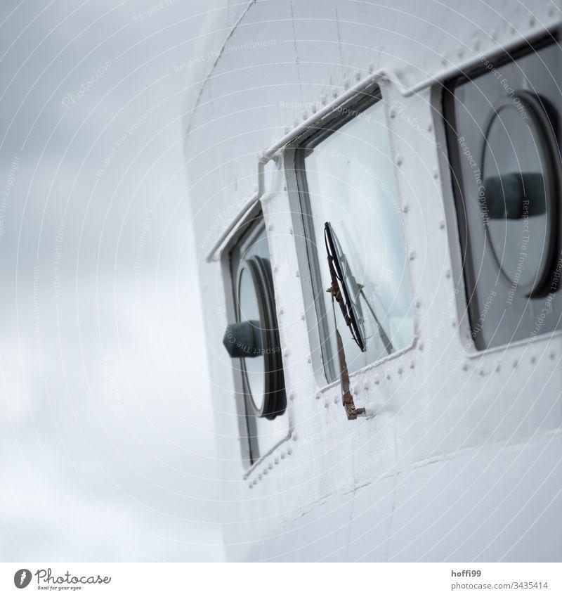 Ferry windows with windscreen wiper Windscreen wiper Window Fog Rain Window pane Transport Blue Wet Reflection Drops of water Water Weather Bad weather Motoring