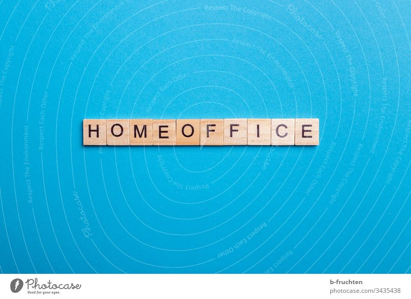 "Scrabble letters with the word ""HOMEOFFICE home office Letters (alphabet) Blue background Studio shot Word Characters Typography Wood Homework labour at home"