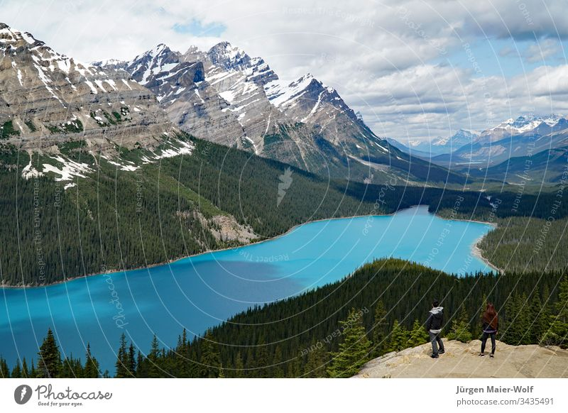 View over Peyto Lake, Banff National Park Canada Peyto lake Rocky Mountains Tourism Vacation & Travel Alberta North America Central perspective Exterior shot