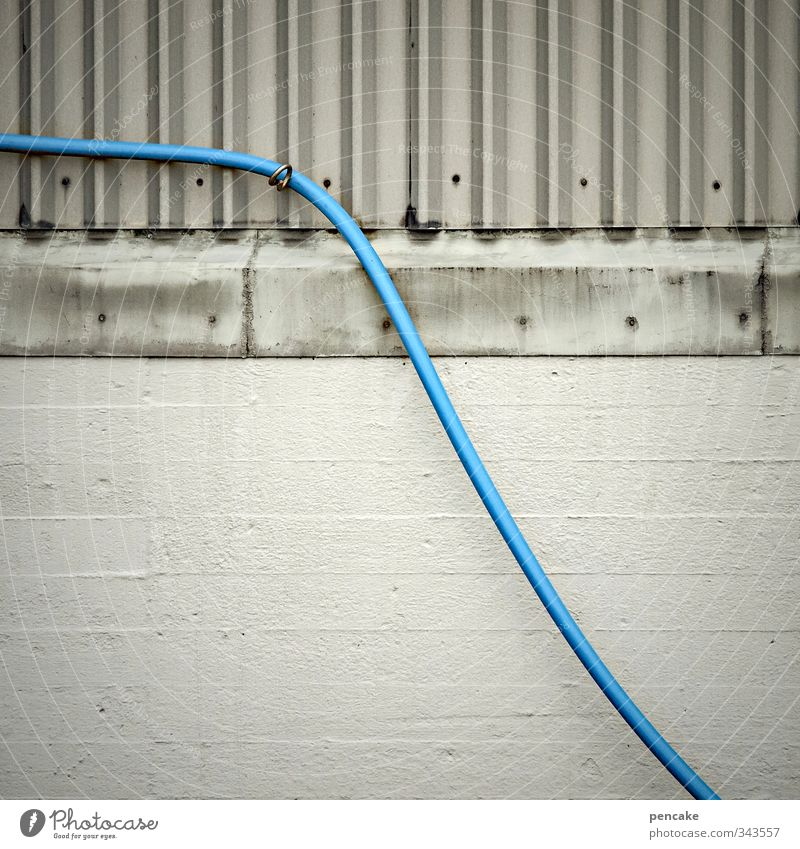 Total blue | Stay in touch | Rømø Cable Technology Building Wall (barrier) Wall (building) Facade Sign Blue Gray Esthetic Cold Communicate Teamwork Target