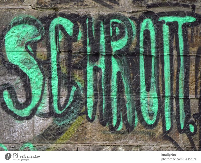 The word scrap metal sprayed as graffiti on a wall Graffiti Communicate Characters Word Neon green Green Letters (alphabet) Typography Sign Capital letter