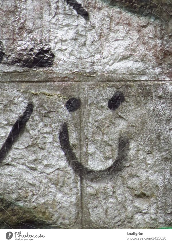 Graffiti smiling face on a silver sprayed wall Smiley Art Street art Smiling Friendliness Wall (building) Wall (barrier) Sign Happiness Exterior shot