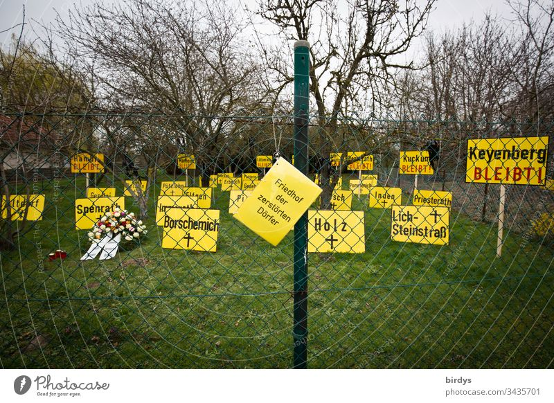 Cemetery of the destroyed villages, installation in the village of Keyenberg near the Garzweiler opencast mine in NRW. Each sign stands for a place which has disappeared from the map due to the opencast lignite mine. Keyenberg would be the next village destroyed by RWE