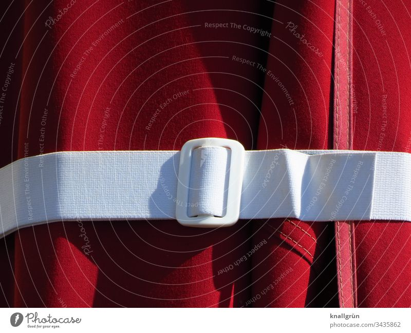 Detail of the white strap of the red parasol lacing up Sunshade Belt Attachment Belt buckle Buckle Cloth Light Shadow Colour photo Stitching Red White