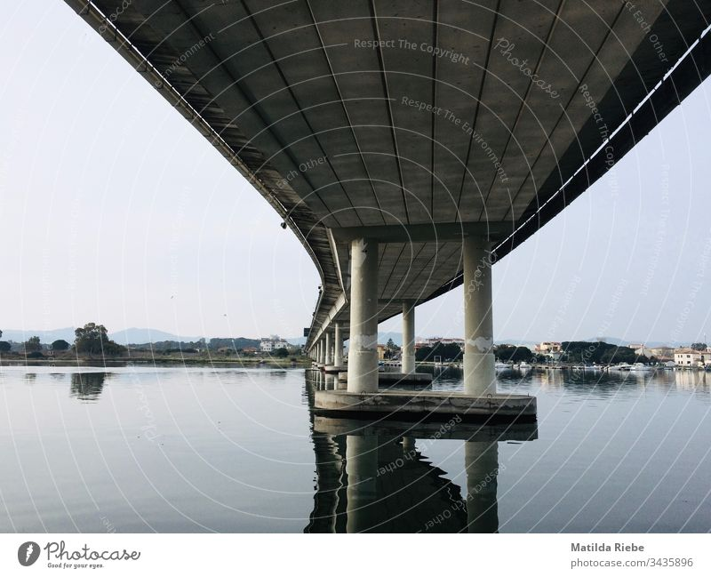 Bridge from below Bridge pier Construction Architecture Concrete Steel Bridge construction Manmade structures Exterior shot Deserted Traffic infrastructure