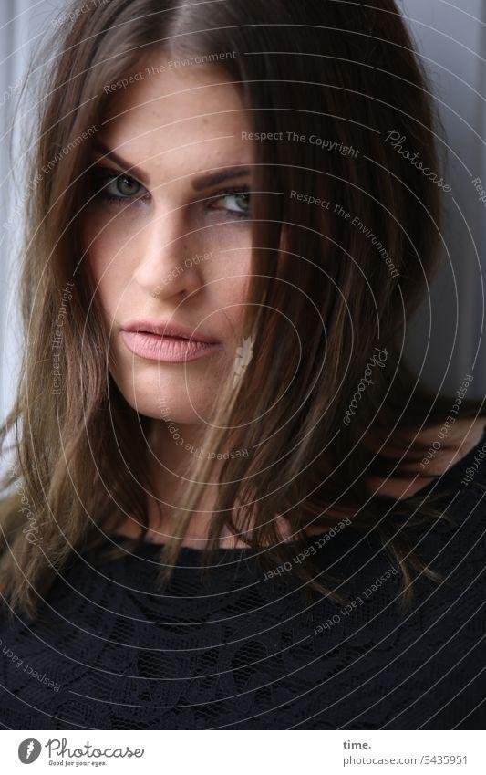 SHELTER Woman feminine sad hair Dress countersunk Head Meditative actress portrait Face hairstyle suspicious temporising Skeptical