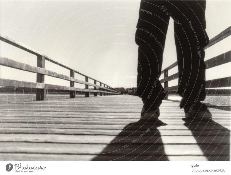 life Footbridge Plank Ocean Zingst Vanishing point Man baggies Handrail