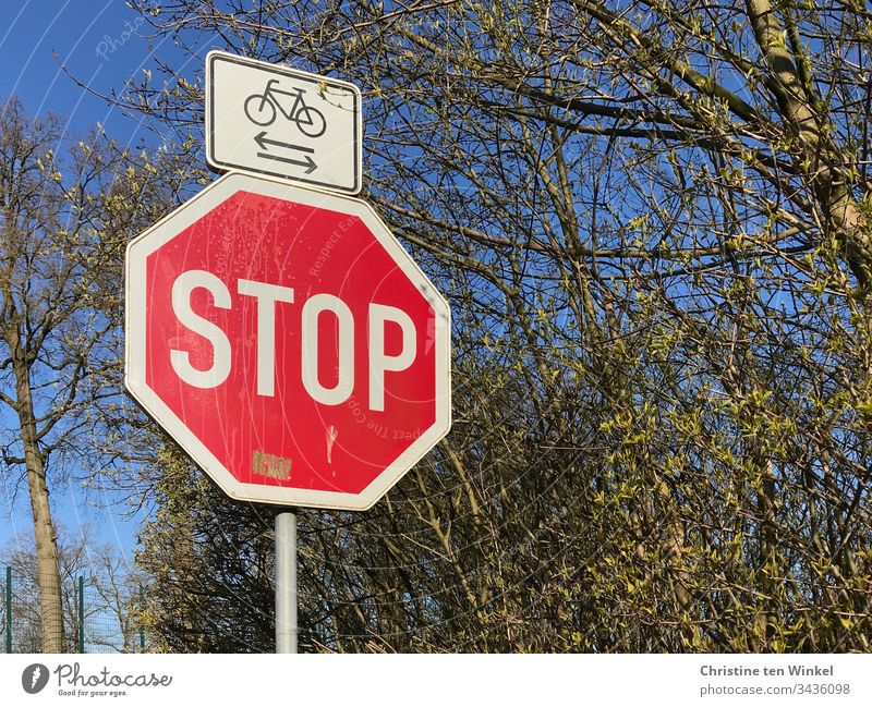 stop sign, cyclists cross, spring Stop sign Road sign Signs and labeling Characters Warning sign Signage Red Lanes & trails White Blue Green Spring