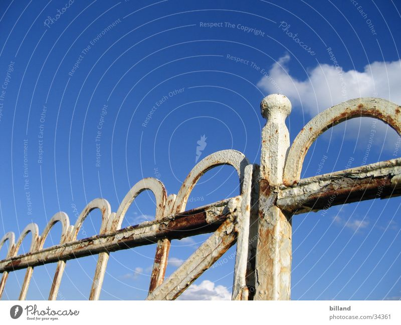 Nature Old Sky White Blue Summer Colour Leisure and hobbies Rust Fence Handrail Iron Flake off Smithy