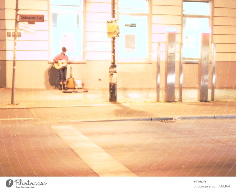 night guitarist Busker Night Loneliness Man Town Guitar