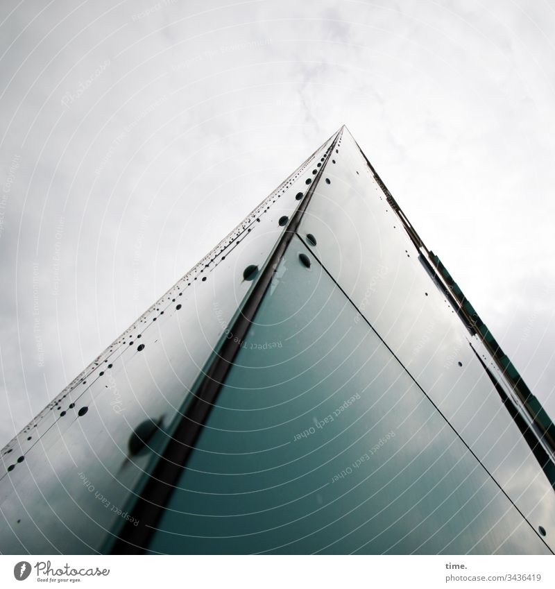 Room program align Sky reflection House (Residential Structure) Facade Tall Whimsical illusive urban disk Corner Perspective Screw peak perception in proportion