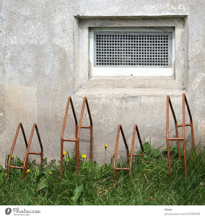 Design & Existence Window Concrete Cellar window Manmade structures Ventilation Bicycle rack Meadow Dandelion service switch off Parking lot