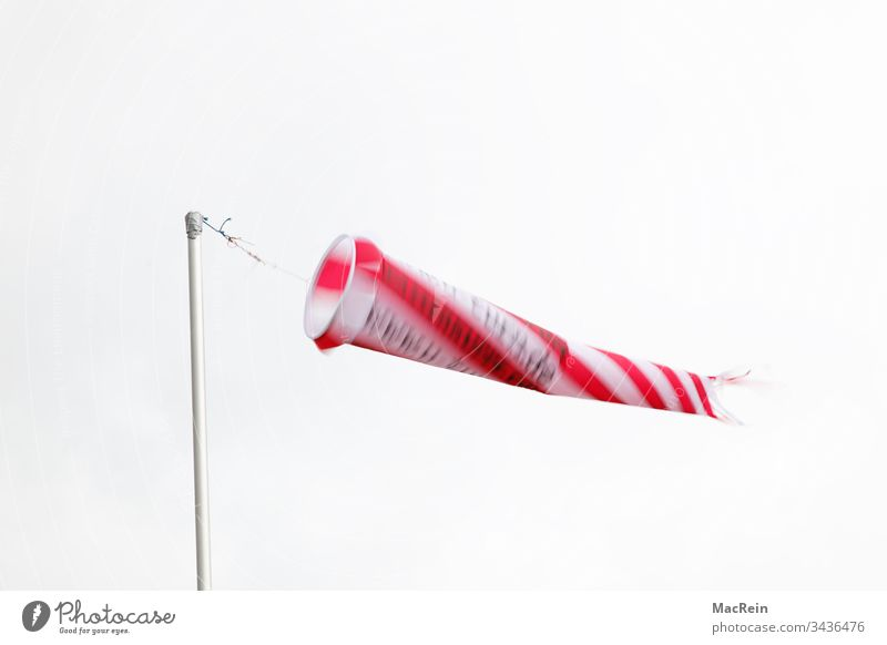 wind sleeve Windsock windsacks Wind direction wind force mast Blow blows nobody Copy Space Red White Stripe pole